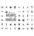 summer holidays and traveling icons set vector image vector image