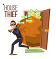 thief and door bandit with bag breaking vector image