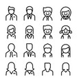 user avatar man woman icon set in thin line