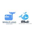 whale logo design set sealife summer adventure vector image vector image