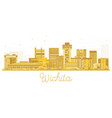 wichita kansas city skyline golden silhouette vector image vector image