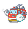 with clock fire truck character cartoon vector image