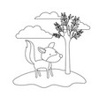 wolf cartoon in outdoor scene with trees and vector image vector image