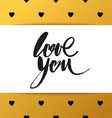 love you heart lettering brush vector image