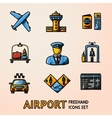 Set of hand drawn AIRPORT icons with - airplane vector image
