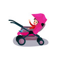sweet kid sitting in a pink modern baby stroller vector image