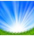 Background with a blue sky and sun vector image vector image