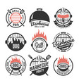 barbecue and grill labels set bbq emblems