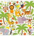 basic rgbseamless pattern with jungle animals vector image