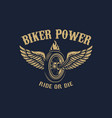 biker power winged wheel in golden style design vector image vector image