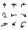 black water tap icon set vector image vector image