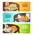 breakfast horizontal banners set vector image