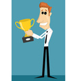 Cartoon office worker with with a trophy vector image vector image