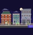 cartoon retro city houses facades vector image vector image