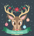 christmas greeting with festive reindeer vector image vector image
