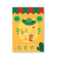 cinco de mayo holiday card template with mexican vector image