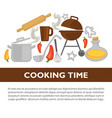cooking time kitchenware poster vector image vector image