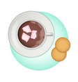 Cup of cocoa pink marshmallow and crackers vector image vector image