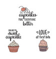 cupcakes and love related quotes vector image