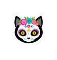 day dead dia de los moertos cute cat head vector image vector image