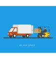 Delivery truck with forklift vector image