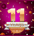 eleven years anniversary celebration design vector image vector image