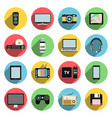 flat icons set of multimedia and technology vector image vector image