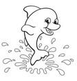 fun happy cute dolphin coloring book image vector image vector image