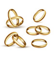 gold wedding rings set ceremony gift symbol vector image