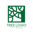 green tree logo original design green eco square vector image vector image