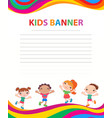 Happy children run on the banner template