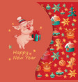 happy new year card with cute pig vector image vector image