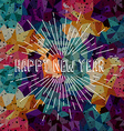 happy new year text show sunrays retro theme vector image vector image