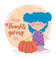 happy thanksgiving day smiling girl with pumpkin vector image vector image