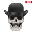 Human skull with black bowler hat vector image vector image
