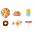 Junk food icons set Junk food logo set vector image