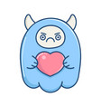 kawaii angry blue valentine monster holding heart vector image