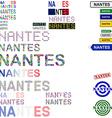 Nantes text design set vector image vector image