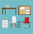 office workplace set icons vector image vector image