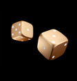 pocer dice view of golden white dice casino gold vector image vector image