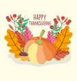 pumpkin acorn berry leaves foliage thanksgiving vector image vector image