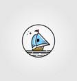 sail boat logo in circle shape design vector image