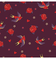 seamless pattern with swallows roses hearts and vector image vector image
