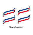 Set of four modern colored french ribbons