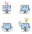 set of monitor character with love waiting angry vector image vector image