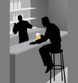 silhouette of a man at the bar vector image
