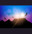 silhouettes of birds flying against sunset sky vector image vector image