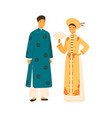smiling vietnam couple in national costume vector image vector image