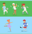 sport wellness people characters sporting vector image vector image