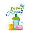 spring cleaning plastic bottle sponge bubbles vector image vector image